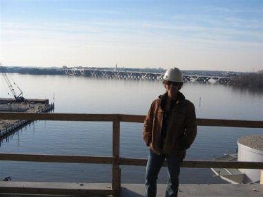 Here I am at one of Tom's jobs while we were traveling - this one was in D.C.